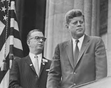 President John F. Kennedy with Peter J. Crotty at left. Buffalo, New York October 14, 1962