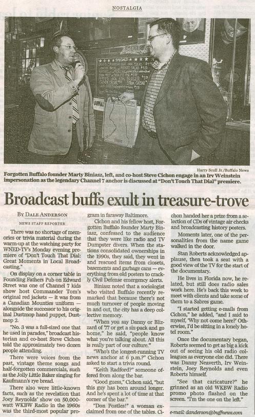 Buffalo News - Dec 7, 2010 - Click on image to read.