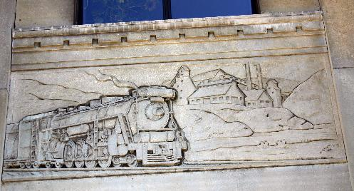 One of the architectural friezes depicting the importance of the railroad in the development of Hamilton.