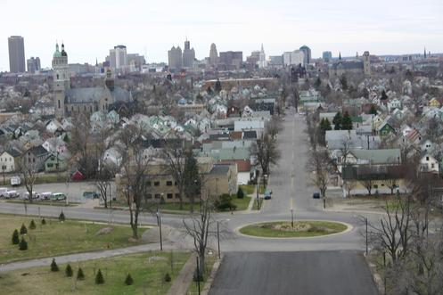 Paderewski Drive as seen from Buffalo Central Terminal looking west towards Downtown Buffalo (2008).