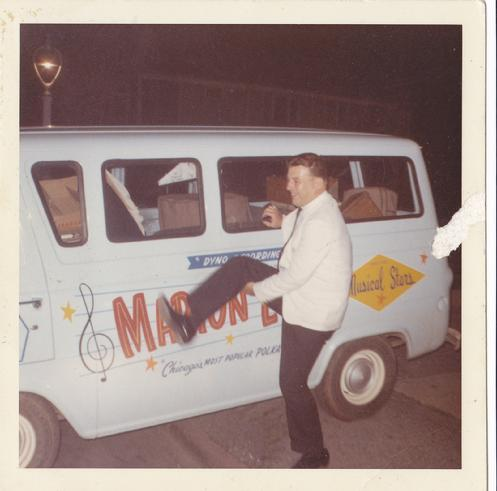 Dyno Recording Star Marion Lush outside his gig van.