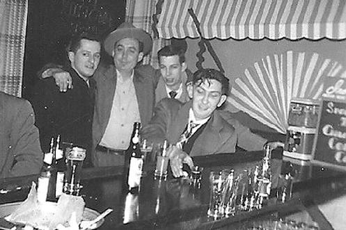Ray Barsukiewicz (in black coat) and some of his bar buddies at Strusienski�s. Ray is father of Ray Barsukiewicz, member of the Buffalo Concertina All Stars.