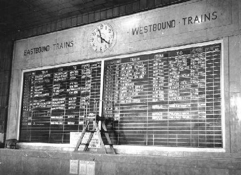 Central Terminal Train Board in the late 1960s