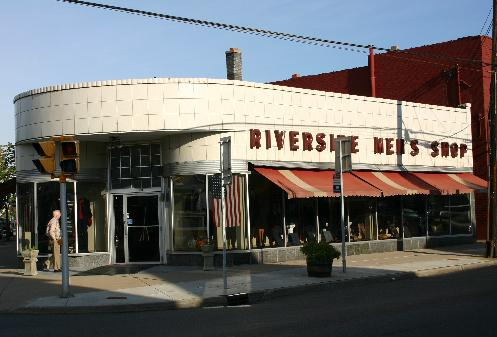 The signature Tonawanda and Ontario street building dates to the early 1940's and was built after a fire nearly put the retailer out of business.  Architect Louis Greenstein designed the new Riverside Men's Shop that featured the city's first air-conditioning, first plate-glass doors, and first fluorescent lighting.