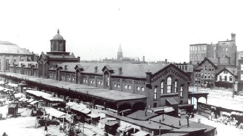 1880's view of the Washington Market. This structure was torn-down in the 1960s to make way for a parking lot.